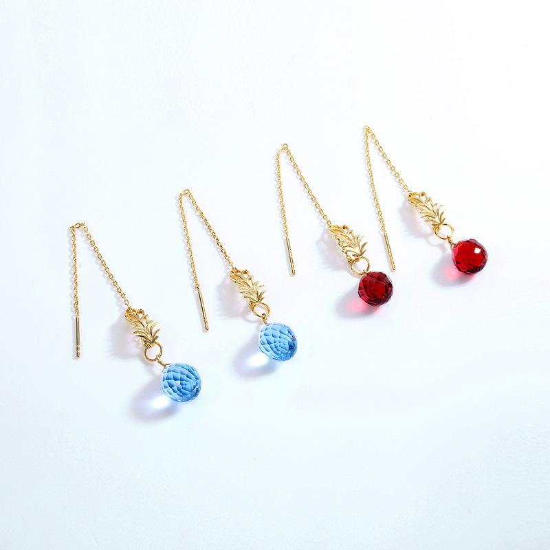 Quartz charm sterling silver drop earrings