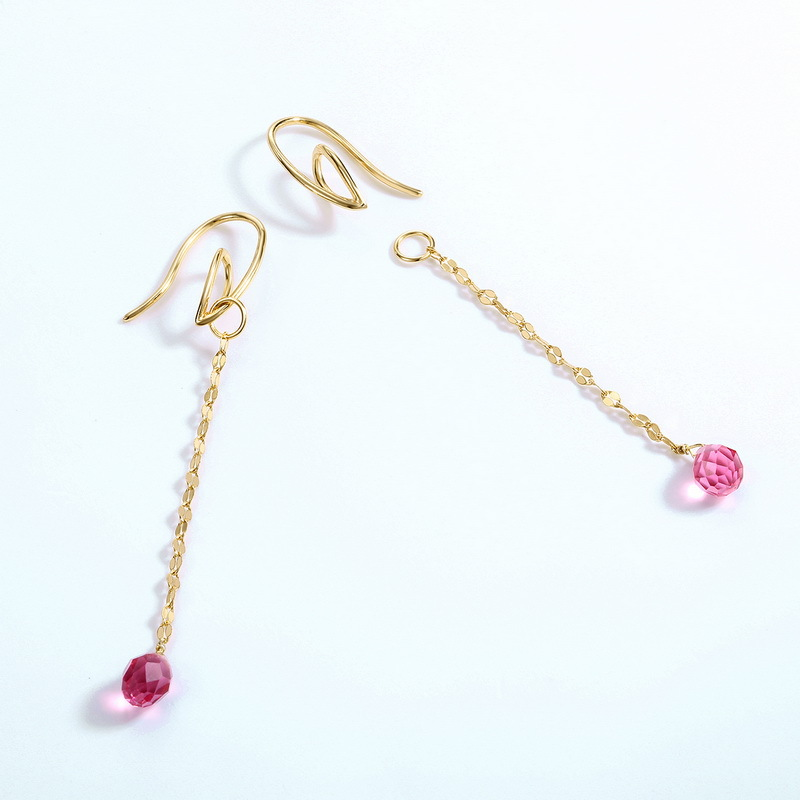 Red quartz charm sterling silver hoop earrings