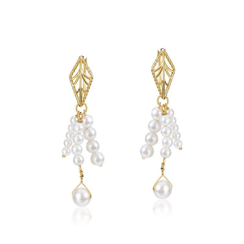 White pearl tassel sterling silver huggie earrings