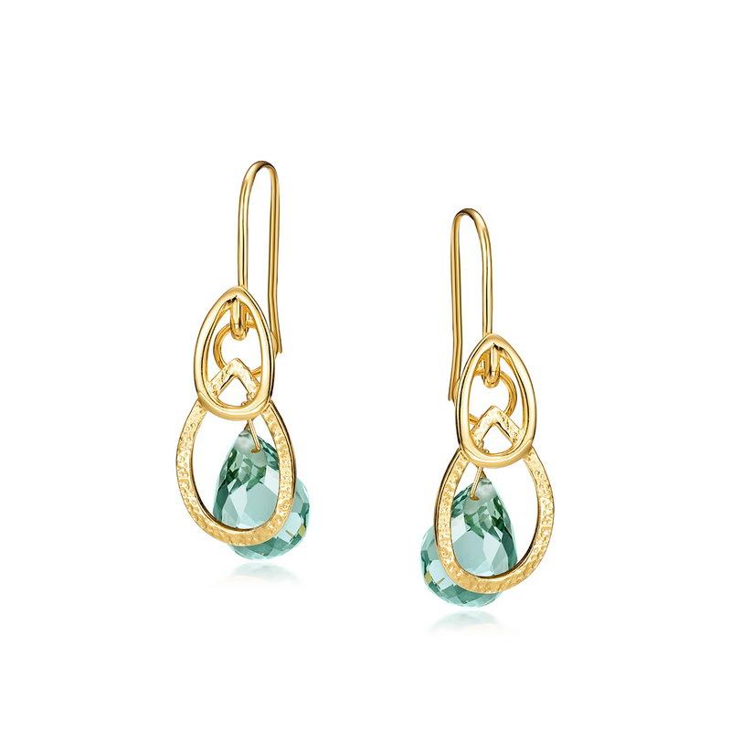 Green amethyst sterling silver hoop earrings