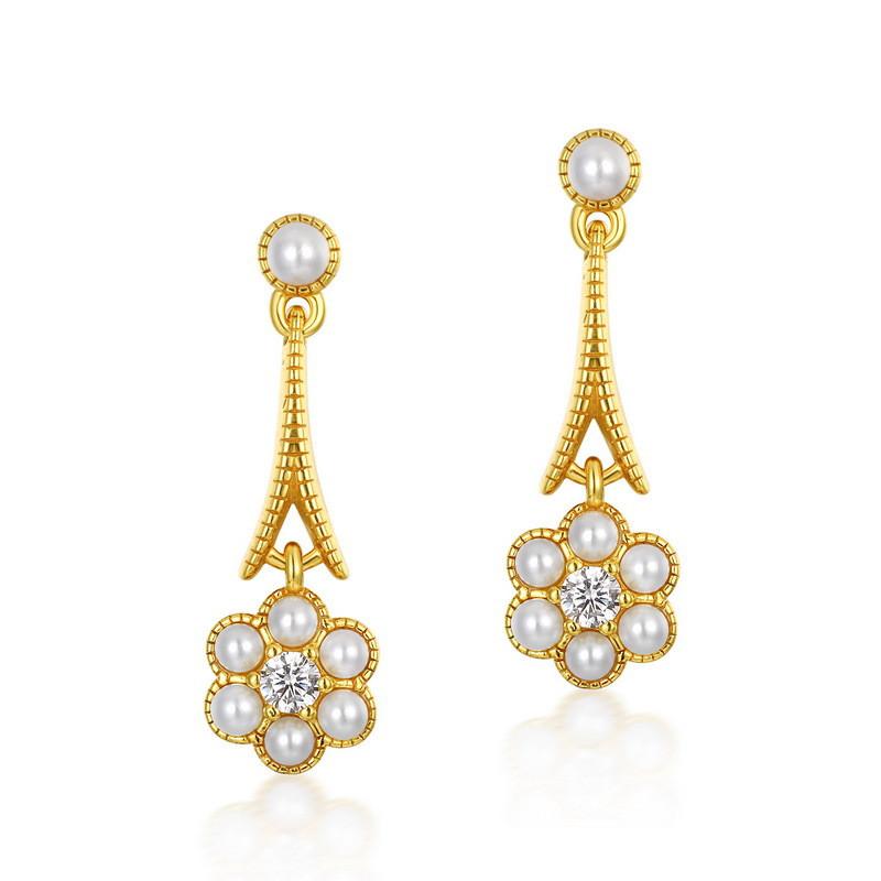 White pearl flower sterling silver earrings