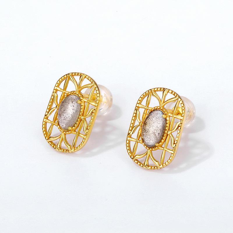 Oval labradorite sterling silver stud earrings