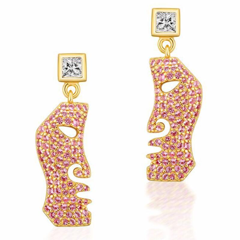 Half face sterling silver earrings