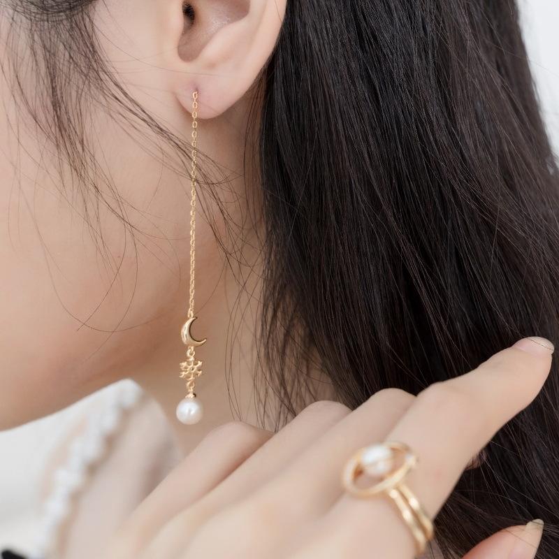 Moon & snow sterling silver drop earrings
