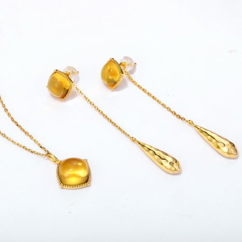 Citrine sterling silver jewelry set