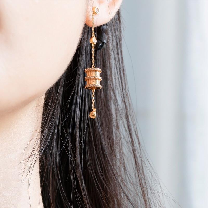 Fortune wheel sterling silver drop earrings