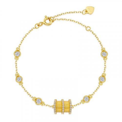 Fortune wheel sterling silver chain bracelet