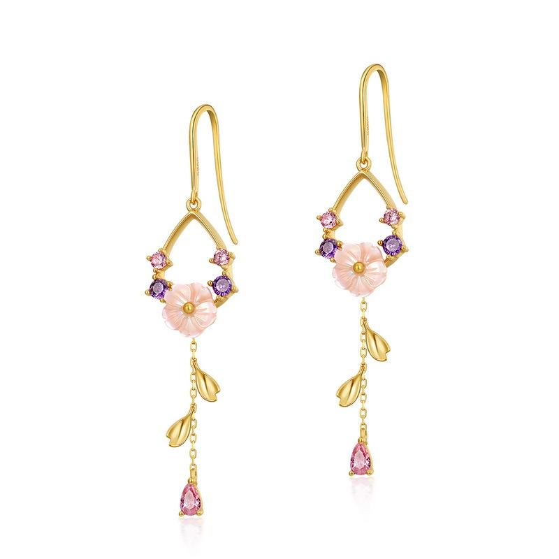 Pink blossom sterling silver drop earrings