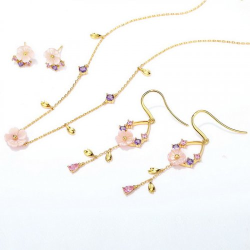 Pink blossom sterling silver jewelry set
