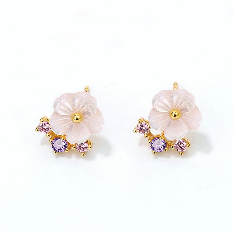 Pink blossom sterling silver stud earrings