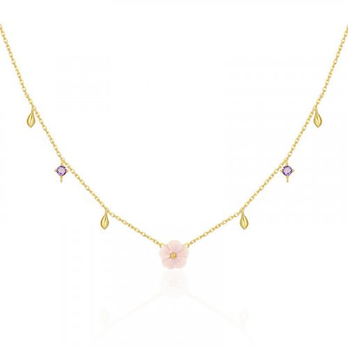 Pink blossom sterling silver necklace