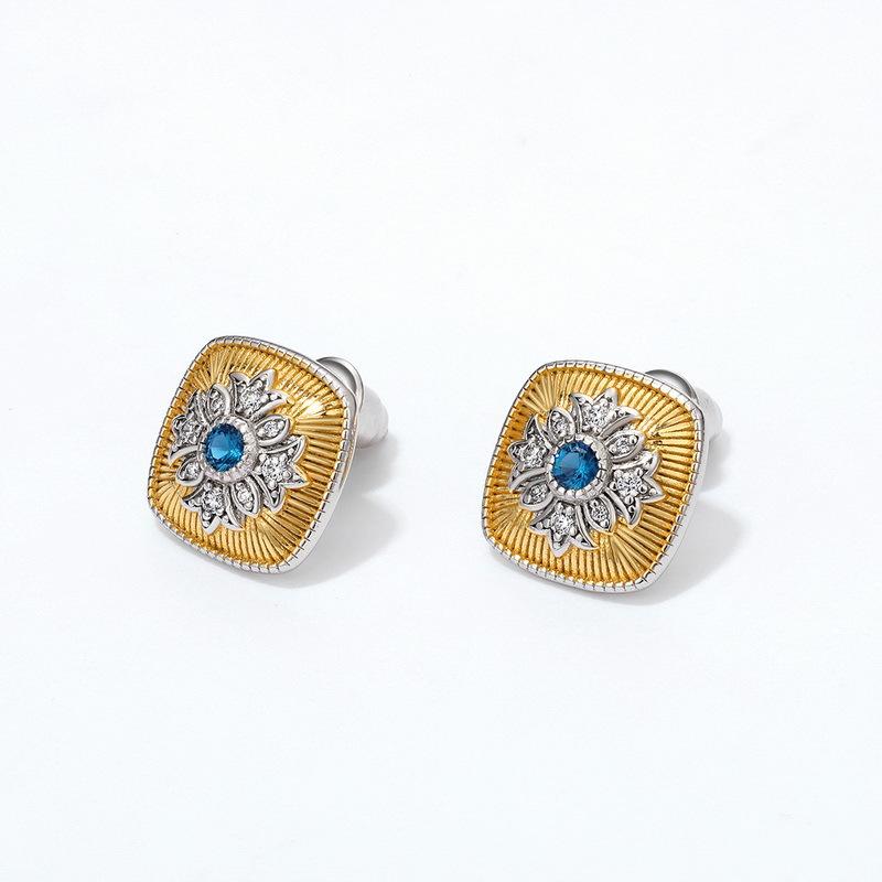 London blue zircon sterling silver stud earrings