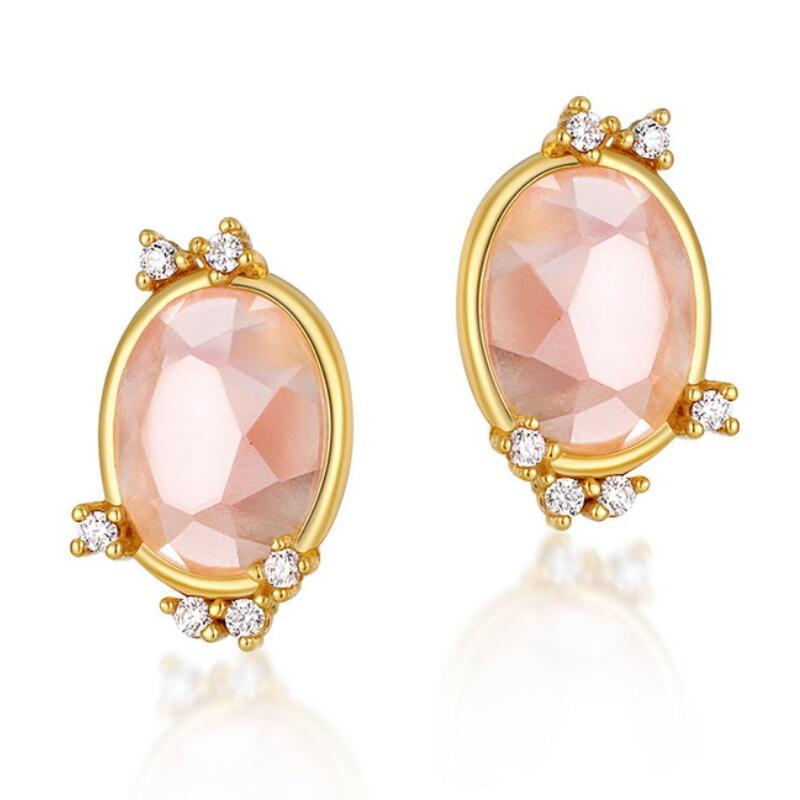 Oval pink quartz sterling silver stud earrings