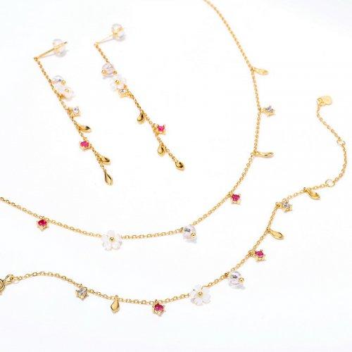 Flowers bloom sterling silver jewelry set