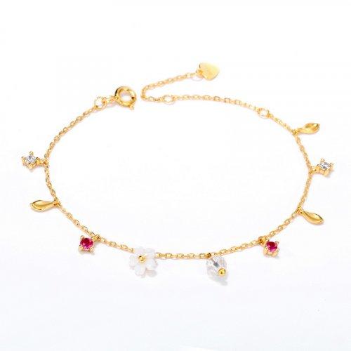 Flowers bloom sterling silver chain bracelet