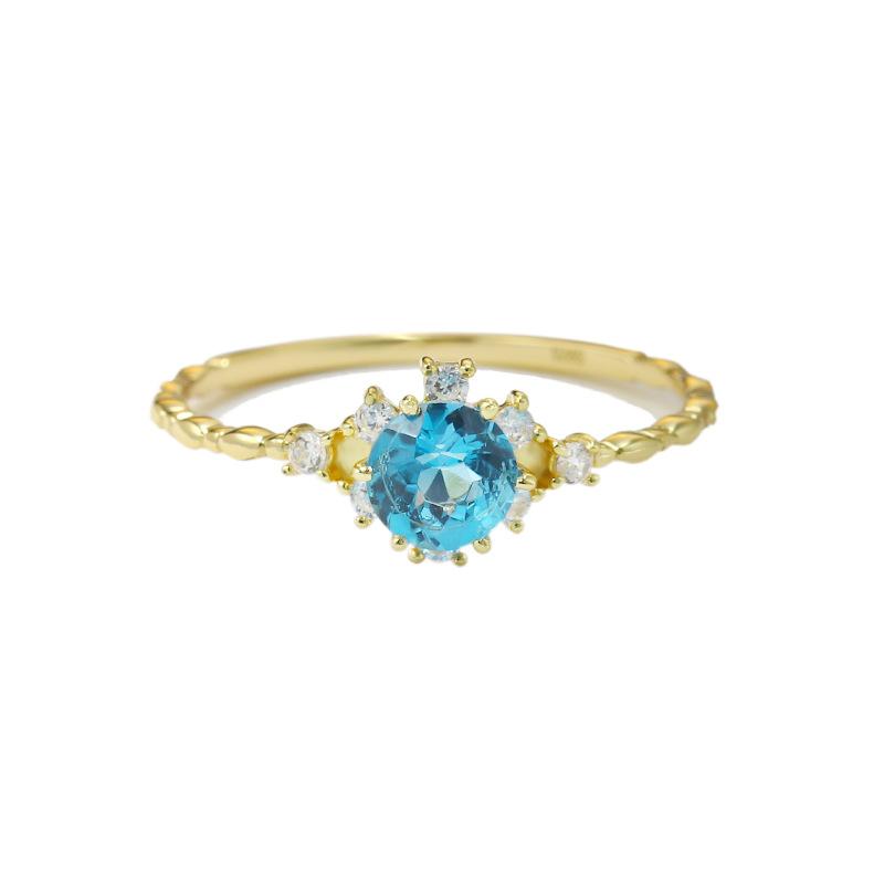 Swiss blue topaz sterling silver ring