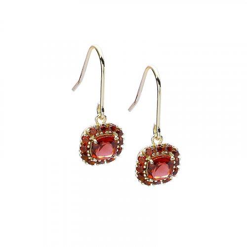 garnet sterling silver hoop earrings