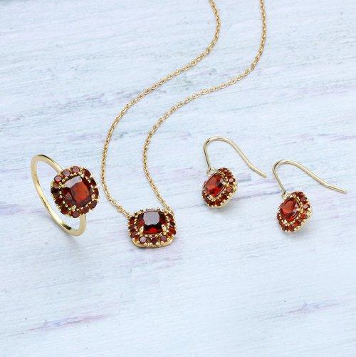 Garnet sterling silver jewelry set
