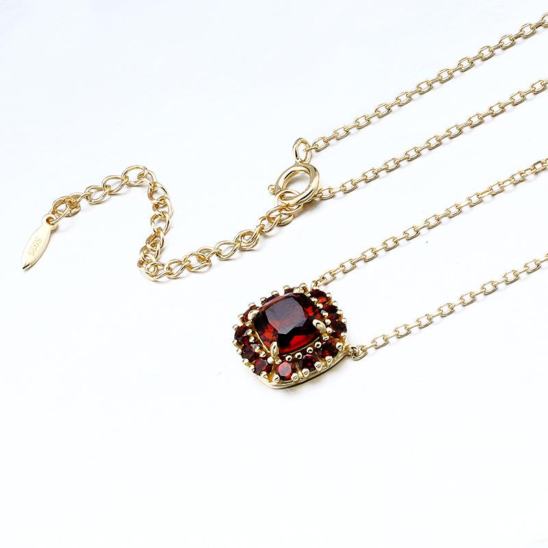garnet sterling silver chain necklace