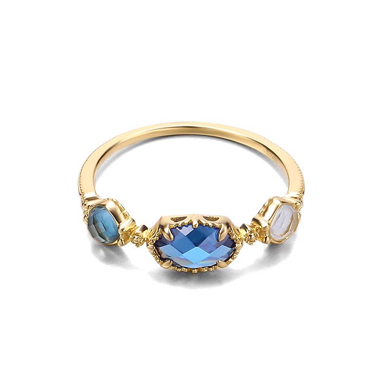 Three-topaz sterling silver ring