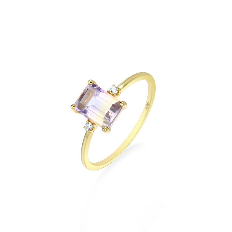 Cushion cut ametrine sterling silver ring