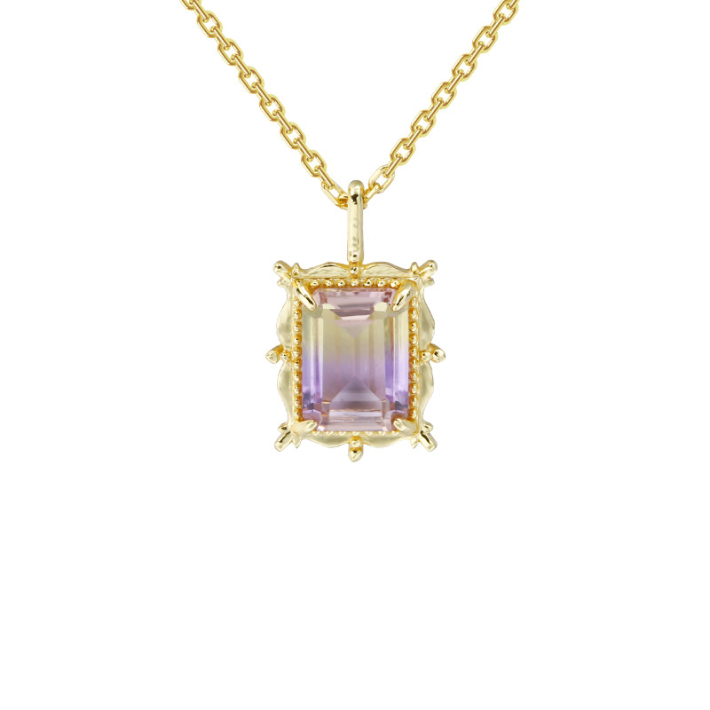 Cushion cut ametrine sterling silver pendant