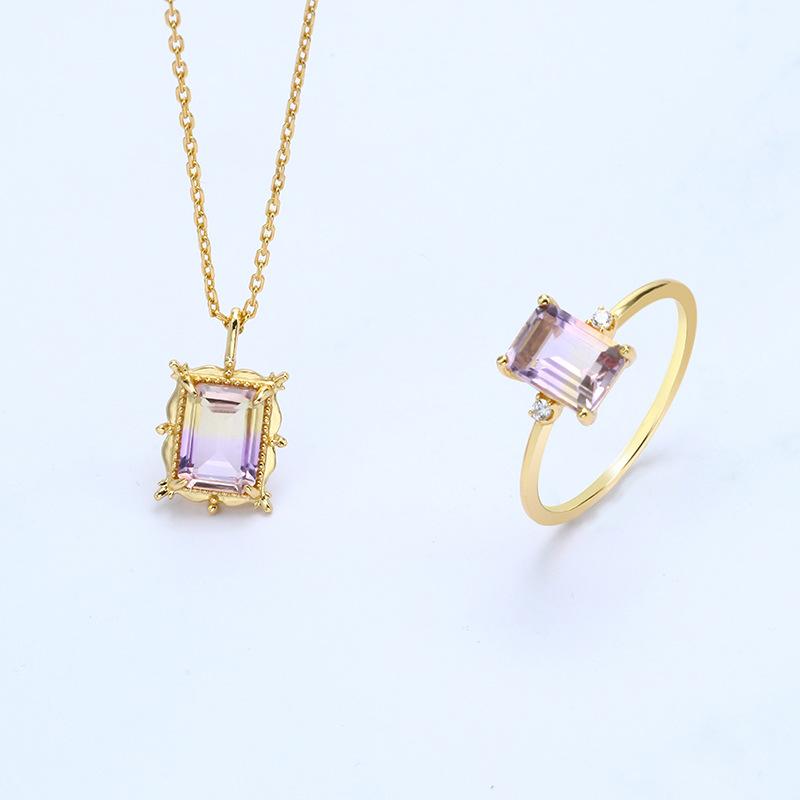 Cushion cut ametrine sterling silver jewelry set