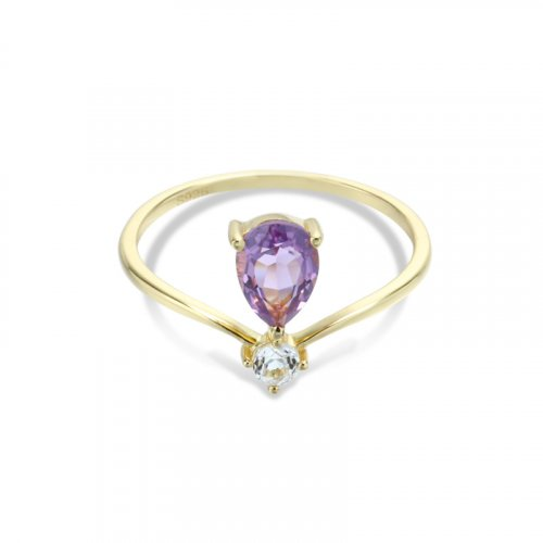 Crown style amethyst sterling silver ring