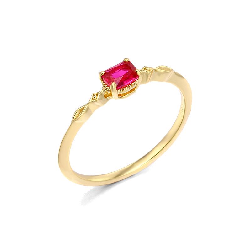 Red corundum sterling silver ring