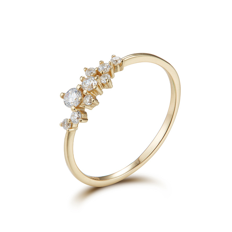 Black/white zircon sterling silver ring