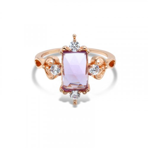 Princess style amethyst sterling silver ring