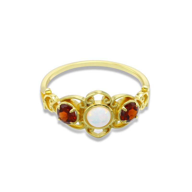 Garnet & opal sterling silver ring