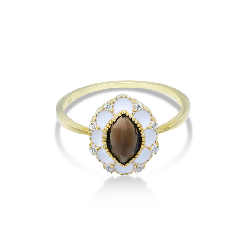 Flower shaped smoky quartz sterling silver ring