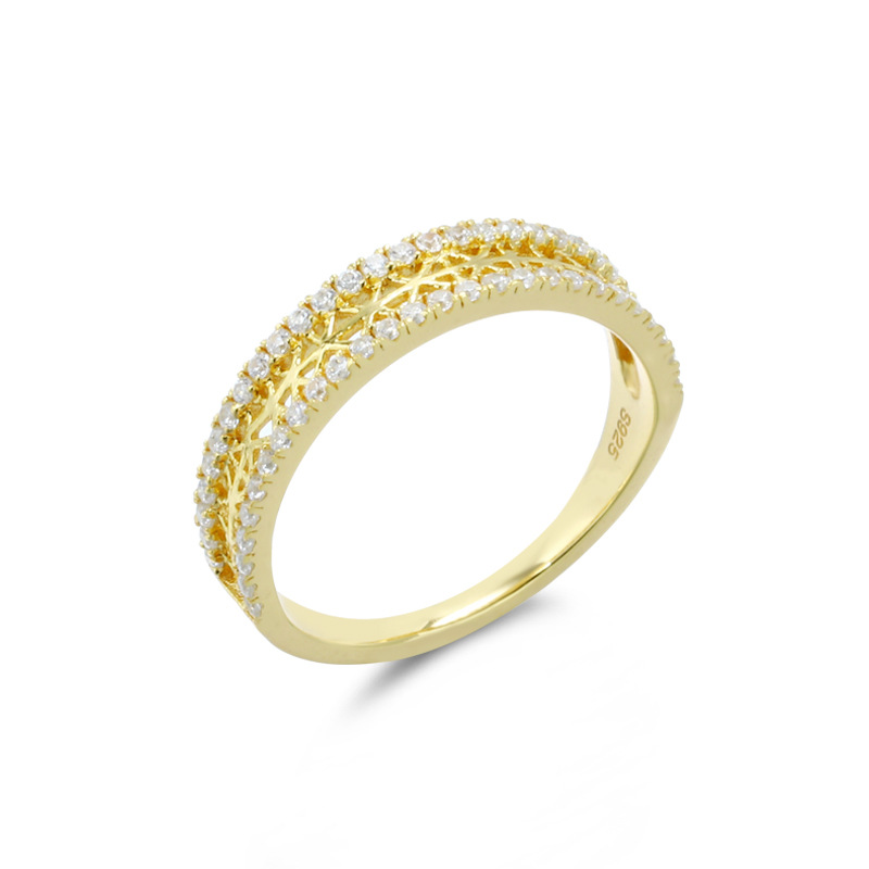 Classic white zircon sterling silver band ring
