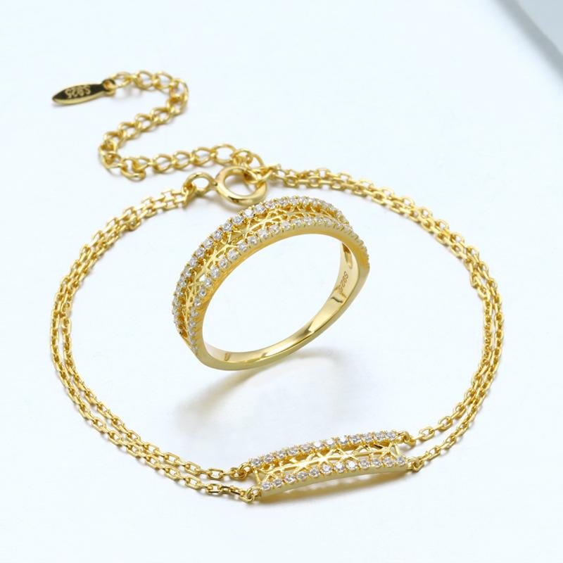 Classic white zircon sterling silver jewelry set