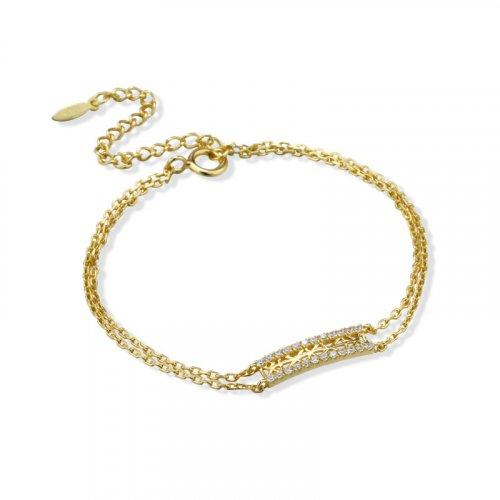 white zircon sterling silver chain bracelet
