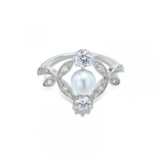 Vintage leaf shaped sterling silver ring