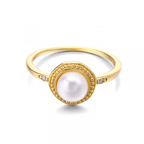 Classic white pearl sterling silver ring