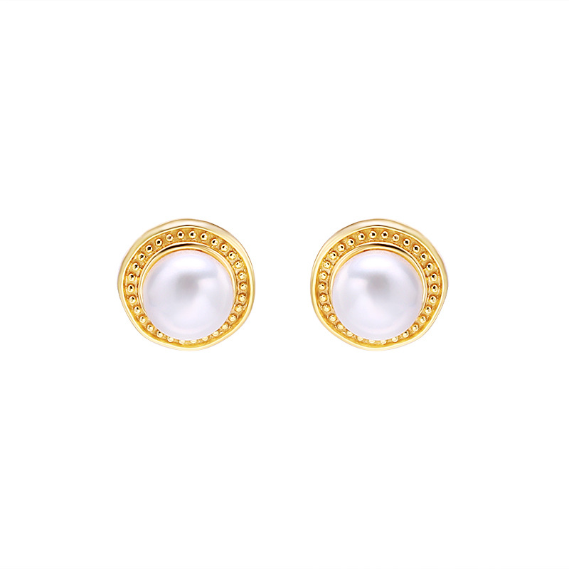 Classic white pearl sterling silver stud earrings