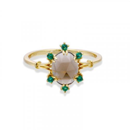 Brown quartz six-prong sterling silver ring