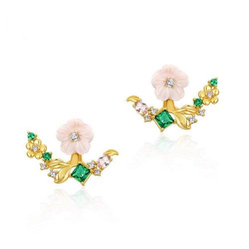 Pink flower detachable sterling silver stud earrings