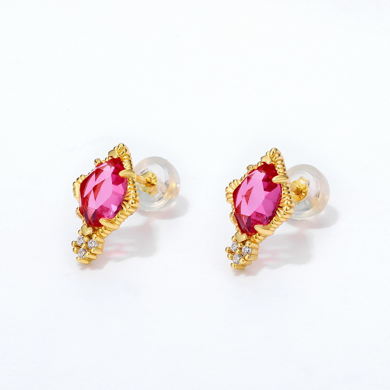 Red rhombus sterling silver stud earrings