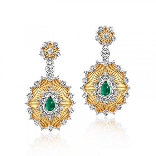 Sunflower green agate sterling silver earrings
