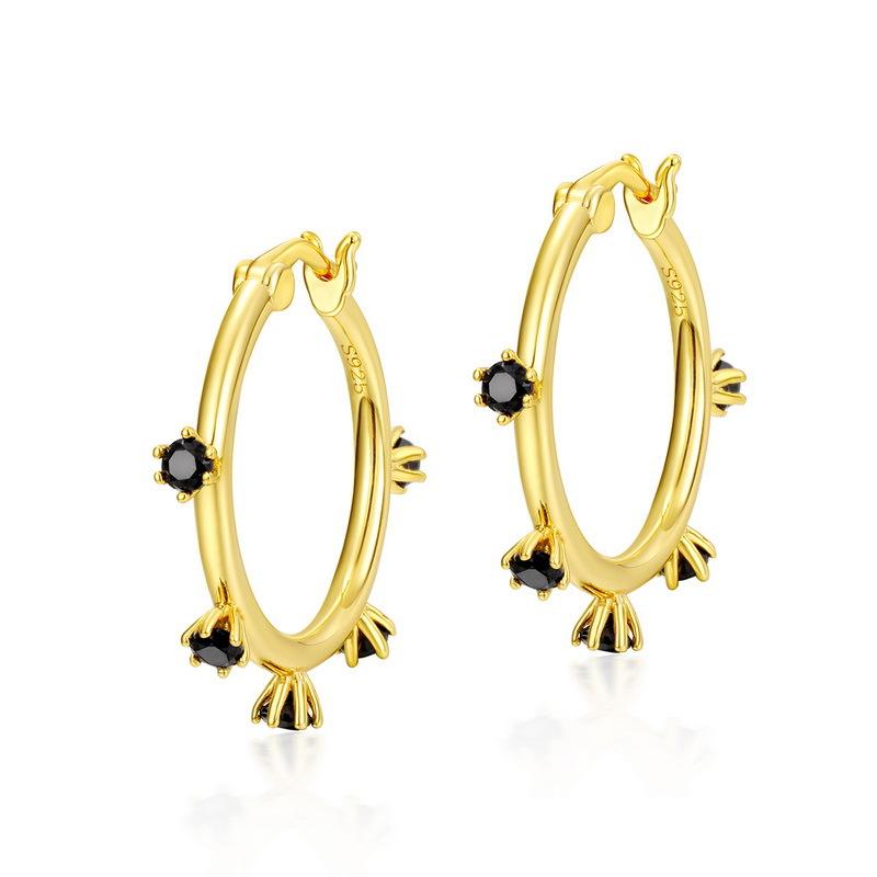 Black zircon sterling silver huggie earrings