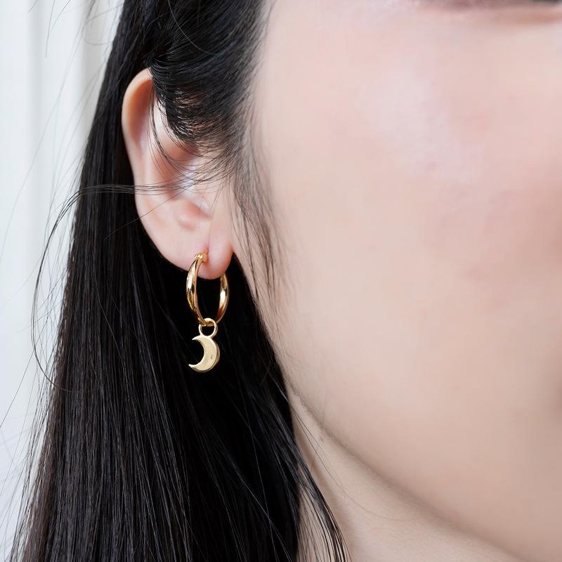 Star & moon sterling silver huggie earrings