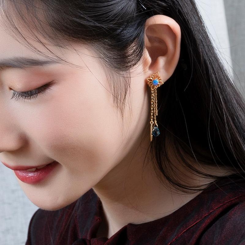 Opal & quartz tassel sterling silver earrings