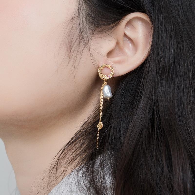 Baroque pearl tassel sterling silver earrings