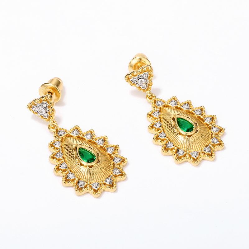 Vintage green zircon sterling silver earrings