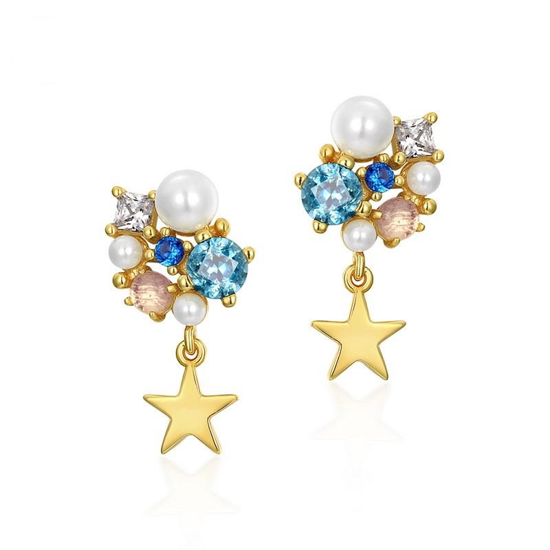Starry sterling silver earrings