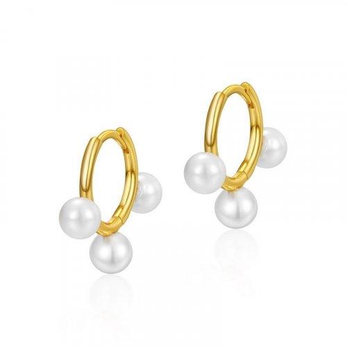 Elegant white pearl sterling silver huggie earrings